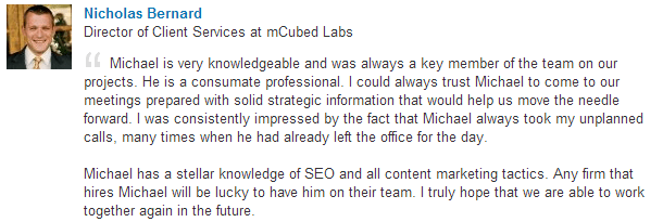 Nicholas Bernard, Director of Client Services at mCubed Labs, recommends Michael Hackmer