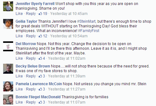 Comments posted on Stein Mart's Facebook page in response to a Veteran's Day sale.