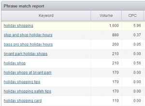 Keyword Research and Phrase Match Report