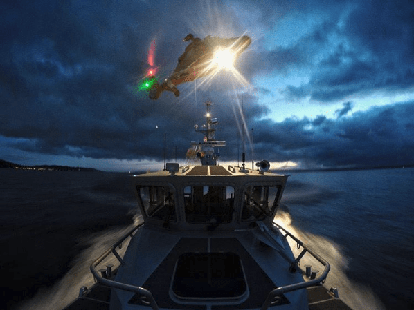 Coast Guard on Instagram - Helicopter over Ship