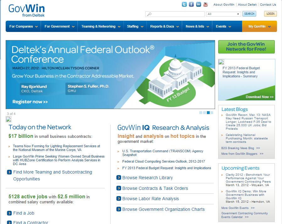 GovWin Government Contractor Website - Social Web Tactics