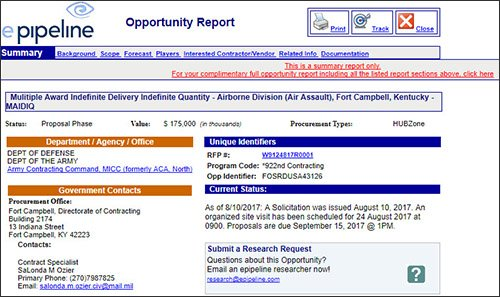 epipeline Government Contractor Opportunity View - Social Web Tactics